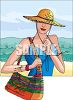 Woman on Vacation at the Beach clipart