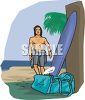 Surfer Getting His Board After Surfing clipart