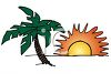 Sun Setting on a Palm Tree at the Beach clipart