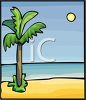 Moon Rising Above a Palm Tree at the Beach clipart