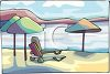 Beach Umbrellas and Chaise Lounges on the Beach clipart