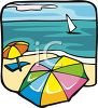 Beach Umbrellas and a Sailboat in the Water clipart