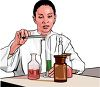 Lab Researcher Using Chemical Compounds clipart