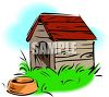 A Dog House With A Food Dish In Front Of It clipart