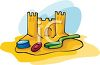 A Sandcastle With Toys clipart