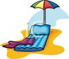 Inflatable Beach Chair With An Umbrella And A Towel clipart