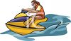 A Woman Riding A Jet Ski clipart