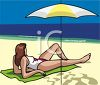 A Woman Laying On The Beach Under An Umbrella clipart