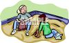 School Kids Playing in the Sandbox clipart