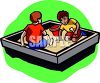 Boys Playing in a Sandbox clipart