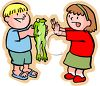 Little Boy Teasing His Sister with a Frog clipart