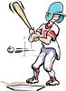 Cartoon of a Kid Playing Baseball clipart