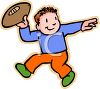 Cartoon of a Little Kid Throwing a Football clipart