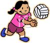 Cartoon of a Little Girl Hitting a Volleyball clipart