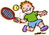 Red Haired Boy Playing Tennis clipart