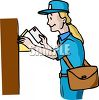 Mail Carrier Putting Letters in a Mailbox clipart