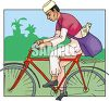 Ethnic Mail Carrier Riding a Bicycle clipart