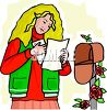 Teenage Girl Getting the Mail clipart