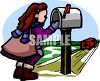 Little Girl at the Mailbox clipart