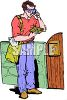 Man Getting Reading His Mail clipart