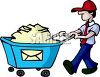 Postal Worker Pushing a Bin Full of Letters clipart
