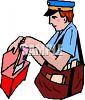 Postman Putting Letters in a Mailbox clipart