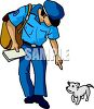 Mail Carrier Talking to a Little Dog clipart