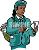 African American Female Mail Carrier clipart