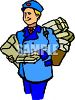 Mail Carrier with a Lot of Packages clipart