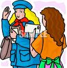 Mail Carrier Waving to a Patron clipart