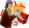 Rich Woman Getting Her Mail clipart