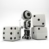 3D Robot with Dice clipart