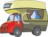 Cartoon Over Cab Camper Truck clipart