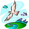 Bird Flying Over a Mountain River clipart