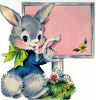 Vintage Easter Bunny Painting a Sign clipart