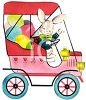 Vintage Easter Bunny Driving a Car Full of Easter Eggs clipart