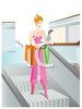Young Woman on an Escalator in the Mall clipart