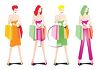 Sexy Women Holding Shopping Bags clipart