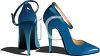Blue High Heels with Ankle Straps clipart