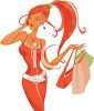 Sexy Redhead Girl Shopping clipart