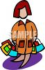 Cartoon of a Woman Carrying Gift Bags clipart