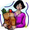 Woman with a Brown Paper Grocery Bag clipart