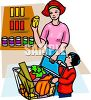 Mother and Son Shopping for Food clipart