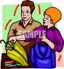 Girl and Her Boyfriend Clothes Shopping clipart