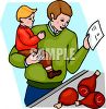 Boy and His Dad Buying Meat at the Supermarket clipart