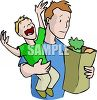 Dad Carrying Groceries and a Screaming Child clipart