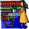 Little Girl Grocery Shopping with Her Mom clipart