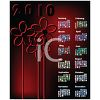Red and Black Floral 2010 Yearly Calendar clipart