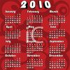 Red Swirls 2010 Yearly Calendar clipart