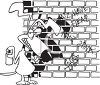 Black and White Dog Cartoon of a Dog Spraying Graffiti on a Wall clipart